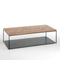 Table top made from patchwork mango wood. Metal structure and shelf underneath, with epoxy finish.Rectangular shape. Size 120 x 60 x height 34.5 cm.