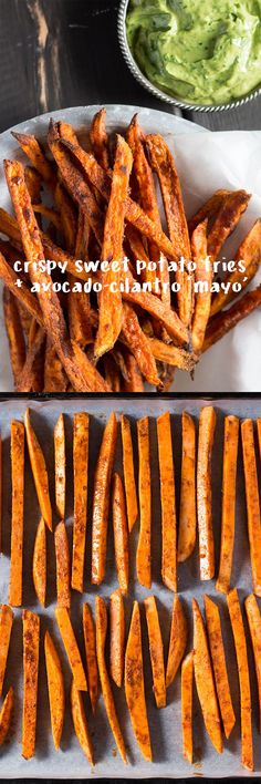 Make sweet fries crispy in the oven with two simple tricks. These get served with a smooth and healthy avocado cilantro mayo.