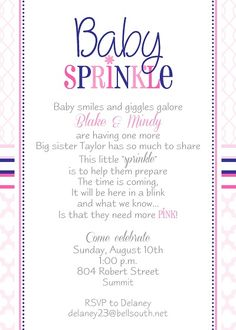Pink umbrella initial invitation sprinkle shower shower baby sprinkle baby shower invitation for a second baby girl creative wording and modern patterns in navy blue and pink with pink flower filmwisefo Choice Image