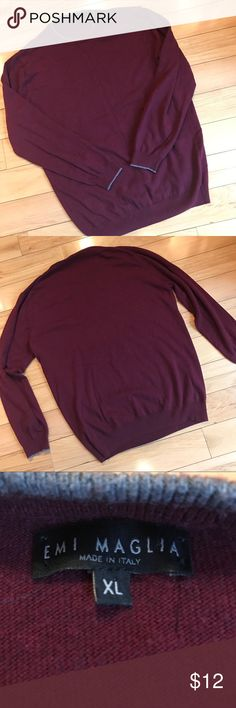 """EMI MAGLIA Made in Italy Cabernet Crewneck Sweater EMI MAGLIA Made in Italy Mens Cabernet Vinous Crewneck Sweater Pullover. Size XL Dimensions taken  while laying. Length 29"""" Chest 43"""" Waist 40.5"""" Sleeve Length 24.5"""" Emi Maglia Sweaters Crewneck"""
