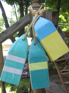 Set of 3 Wooden Buoys 10 inch reclaimed wood. Beach decor. Coastal Decor. made to order via Etsy