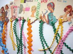 Gift Tags- Vintage Sewing Pattern Packaging- One Dozen Random Selection- Vintage Rick Rack Strings. $14.00, via Etsy.