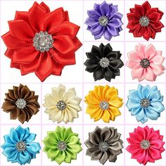 10/30pcs Satin Ribbon Flowers Bows with Appliques Sewing DIY Craft Wedding