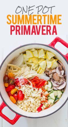 One Pot Summertime Primavera. Yummy summer dinner recipe.