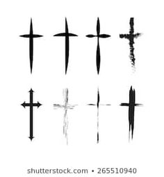 Similar Images, Stock Photos & Vectors of Crucifix cross hand drawn sketch paint brush vector icon set. Christianity orthodox, catholic religion isolated symbols set for Easter, funeral or grave memorial. White Tattoo Cross, Small Cross Tattoos, Cross Tattoo For Men, Cross Tattoo Designs, Cross Drawing, Symbol Drawing, Cross Hands, Sketch Painting, Drawing Techniques