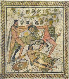 The punishment of Dirka, roman floor mosaic, Pula, Croatia (ancient Pola) 2nd or 3rd century AD.  Mozaik s prikazom kažnjavanja Dirke iz blagovaonice kuće (Pola, Pula)