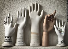 my collection of vintage glove molds.and other vintage oddities. Symbol Hand, Show Of Hands, Hand Sculpture, Vintage Gloves, Heart Hands, Hand Art, Jewellery Display, Vintage Inspired, Give It To Me