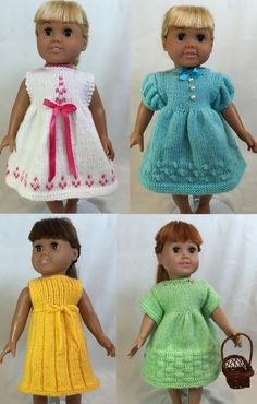 Days of the Week Dresses, Book 1 - Eight different dresses for dolls, including American Girl Dolls. Book 1 has 5 different dress patterns and Book 2 has an additional 5 dress patterns. Knitting Dolls Clothes, Knitted Dolls, Girl Doll Clothes, Doll Clothes Patterns, Girl Dolls, Doll Patterns, Ag Dolls, Dress Patterns, Pretty White Dresses