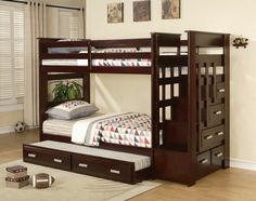 "Espresso finish wood twin over twin bunk bed set with storage drawer steps and slide out trundle. This set features a twin over twin bed frame and a twin slide out trundle and end stair unit with chest of drawers built in. Measures 98"" x 43"" x 68' H. Some assembly required. SKU 10170"