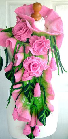 Wool felted woman ART scarf ,shawl-WEDDING BLOSSOM -