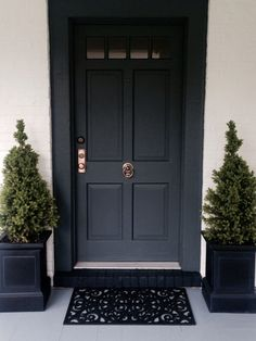 Front Doors : Inspirations Farrow And Ball Front Door 94 Farrow And Ball Hague Blue Front Door Front Door Painted In Gorgeous Farrow And Ball Front Door. Farrow And Ball Front Door Green. Farrow And Ball Studio Green Front Door. Farrow And Ball Front Door Front Door Entrance, Exterior Front Doors, House Front Door, Front Door Colors, Front Door Decor, Front Entry, Front Door Planters, Black Planters, Farrow And Ball Front Door Colours