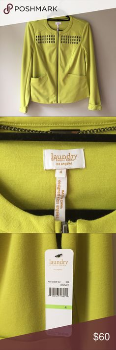 NWT Laundry by Shelli Segal knit jacket sz 4 green NWT size 4 Laundry by Shelli Segal knit jacket with grommet detail. Color:  cricket. (It's a chartreuse green.). Two front pockets, front zip closure. Cute back pleat detail. Perfect casual or business casual!  Grommets really make it stand out! Laundry by Shelli Segal Jackets & Coats Blazers