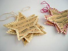 hängend deko Weihnachtssterne basteln vorlagen kinder noten musik