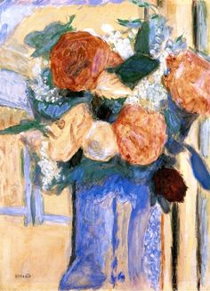 Bouquet of Peonies in a Blue Vase / Pierre Bonnard