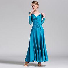 Ballroom Dance Dresses Women's Performance Tulle Milk Fiber Criss-Cross 1 Piece Long Sleeve Natural Dress