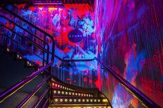 Azure nightclub in Enfield, London. Nightclub design by Tibbatts Abel. – All For Decoration Club Lighting, Neon Lighting, Lighting Design, Nightclub Bar, Nightclub Design, Hookah Lounge, Bar Lounge, Restaurant Design, Restaurant Bar