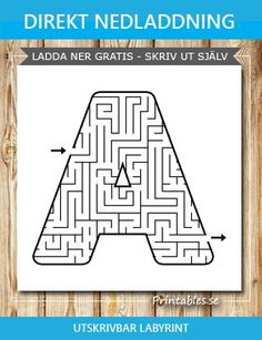 Maze: A (free printable) Printable Mazes, Free Printables, Letter Maze, Letters, I Found You, Educational Activities, Kindergarten, Finding Yourself, Cnc
