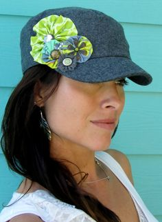 grey cadet hat with lime green flowers by ALilThisALilThat on Etsy, $35.00