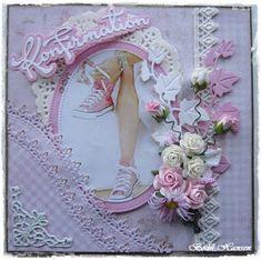 Bodil Hansen: Konfirmationskort Confirmation Cards, Shaby Chic, Pretty Cards, Junk Journal, Scrapbook Cards, Floral Wreath, Birthdays, Blog, Inspiration
