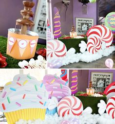 love that they wrapped the bottwm of the fountain! and so cute cupcake cutouts