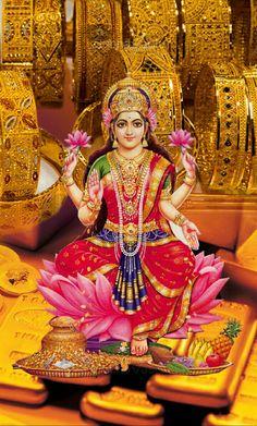 This is Lakshmi, the Hindu goddess for wealth and abundance. Shiva Hindu, Shiva Shakti, Hindu Deities, Lakshmi Photos, Lakshmi Images, Indian Goddess, Goddess Lakshmi, Divine Mother, Mother Goddess