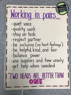 Anchor chart for introducing how to work with partners. Includes ideas for when partner work is appropriate. From the Teacher Studio.