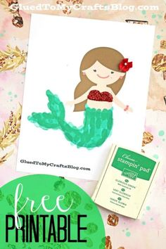 Thumbprint Mermaid Tail - Free Template to get you started! Summer themed kid craft idea #gluedtomycrafts