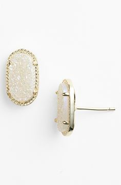 Kendra Scott 'Ellie' Oval Stud Earrings - Drusty Gold