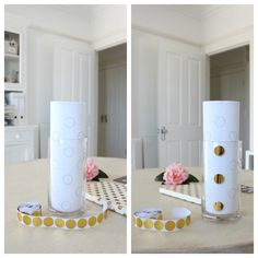 How to DIY Kate Spade Dots - Just how does Kate Spade gets her dots to look so good? I've worked it out and have created a template for you to use to achieve the perfect Kate Spade Dots and make this gold dot vase. Kate Spade Party, Kate Spade Bridal, Do It Yourself Home, Deco Table, Office Decor, Hallway Office, Office Ideas, Bridal Shower, Baby Shower