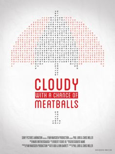 Cloudy with a Chance of Meatballs (2009) - - Minimal Movie Poster (In progress) by Bertrand Fouillet