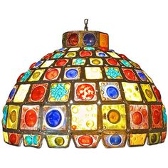 Preowned Dome Shade Pendant Of Leaded Craft Blown Glass ($2,600) ❤ liked on Polyvore featuring home, lighting, ceiling lights, brown, brown shade, handmade lights, glass shade, handmade lamps and 1960s lamp