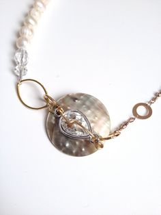 White and Gold Necklace - Pearls Abalone & Crystal Necklace...
