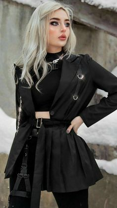 Bad Girl Outfits, Punk Outfits, Mode Outfits, Grunge Outfits, Egirl Fashion, Dark Fashion, Gothic Fashion, Fashion Outfits, Aesthetic Grunge Outfit