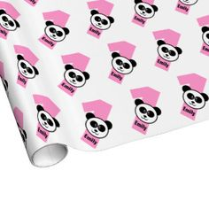 Shop Birthday PANDA One Year Old Custom Girl Name Wrapping Paper Created By JaclinArt