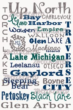 Up North  Northern Michigan Original Subway Art by 2BeeCreated.  Celebrate your favorite places in Northern Michigan with an original subway art piece.  Great mounted on wood or framed.