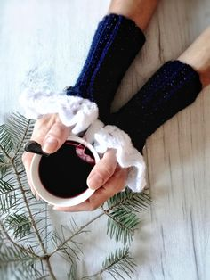 Dark blue crochet arm warmers, blue lacy victorian fingerless gloves, blue texting gloves, blue white crochet mittens, romantic blue mittens by GrannysKnitsandKnots on Etsy
