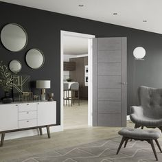 Choose from our range of Grey Internal Doors for your contemporary surroundings. For more information on our modernised grey doors, please call 01938 557733 Grey Internal Doors, Contemporary Internal Doors, Grey Doors, Contemporary Interior, Dark Grey Walls, White Walls, Timber Door, Wooden Doors, Black Interior Doors