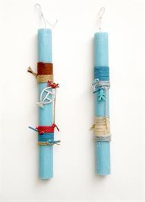 lb3078 {14,90 €} λαμπάδες από χονδρό χειροποίητο αρωματικό κερί (άρωμα ocean) με ανόμοια σχοινιά και σουέντ και μεταλικά στοιχεία