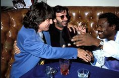 George Harrison, Ringo Starr and Billy Preston during Ringo Starr Party at Bar One - October 1990 at Bar One in Los Angeles, California, United States. Beatles Love, Beatles Photos, Ringo Starr, George Harrison, Billy Preston, Friends Are Like, The Fab Four, Party Photos, Great Bands