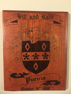 Family Crest Plaques, Coat of Arms Plaques, Wood burned Sign, Pyrography Sign