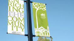 Banners » Lindsay Van Allen Signage Display, Signage Design, Branding Design, Flag Design, Design Art, Graphic Design, Pole Banners, Street Banners, Banner Design Inspiration