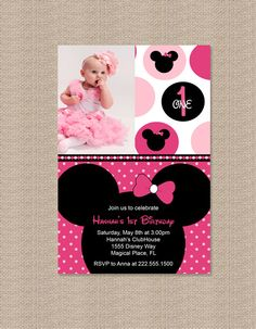Polka Dot Minnie Mouse Birthday Party Invitations by Honeyprint, $15.00..love this idea, but in MICKEY MOUSE. My little guy would love a party theme like this!