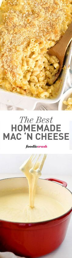 Two cheeses and an easy roux make this silky macaroni and cheese the creamiest I've ever made and way better than the boxed kind | foodiecrush.com