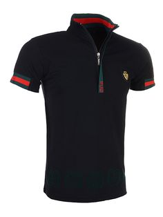 57bafc654a75 Best Selling Gucci Men Lapel Polo Shirt with Zipper in Black