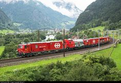 "Brand new fire-fighting and rescue train ""LRZ14"" (Lösch- und Rettungszug LRZ14) of the SBB leaving Erstfeld for a test drive on the Gotthard line"