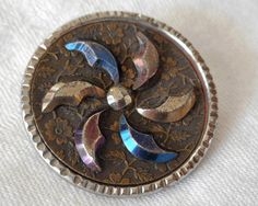 ANTIQUE Steel Cup Colored Cut Steel Spiral Crescents by abandc