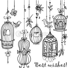 Doodle cages with birds. by fearsonline - Imagens vectoriais em stock