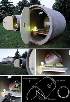 Looks like a great getaway that could double as a detention area! Marvelous German innovation! I would pad the ceiling, though. Just in case. #tubes #bed #unique