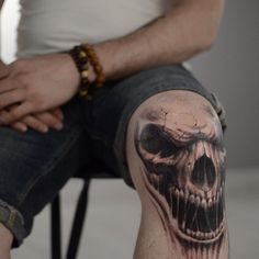 """Incomplete but coming out so cool!!! @darwinenriquez (: #lastritestattoo #nyc #blackandgrey #knee #skull"""