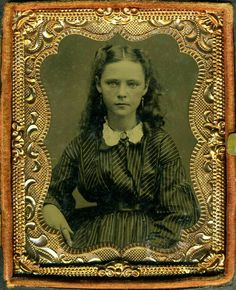 A lovely young lady: the striped material, pinched and belted waist, the lace collar of her dress indicate 1860s. I have noticed that many of the girls from this period are wearing rings on their forefingers. It must have been a fad.
